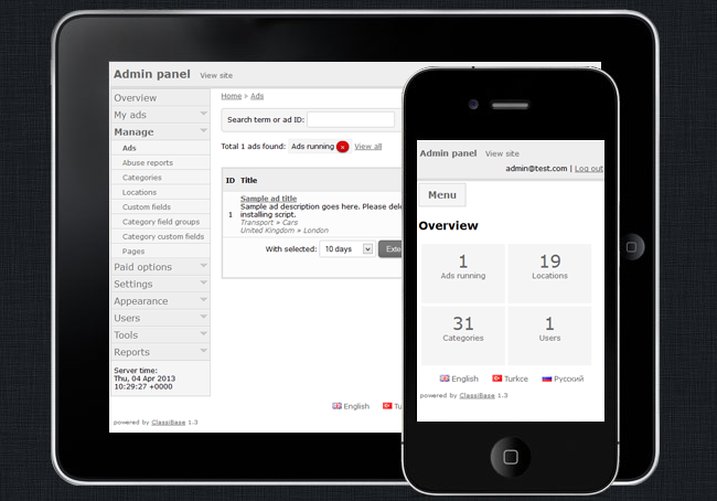 Classibase admin and user area mobile friendly responsive design