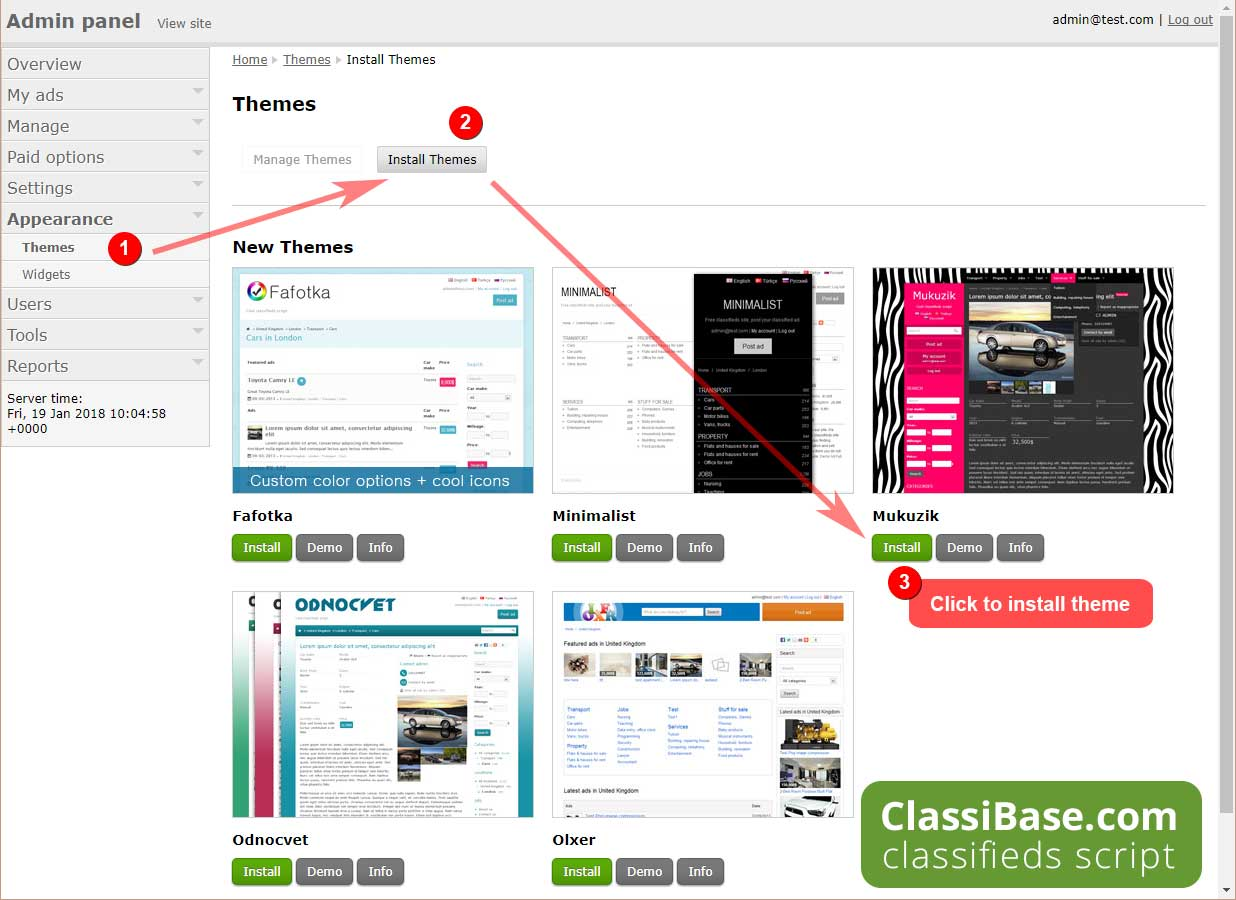 Install classifieds theme