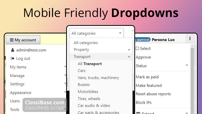 classifieds script with mobile friendly dropdowns